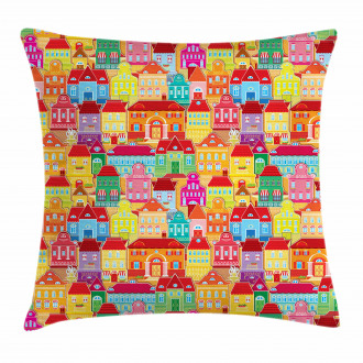 Colorful Houses Pillow Cover