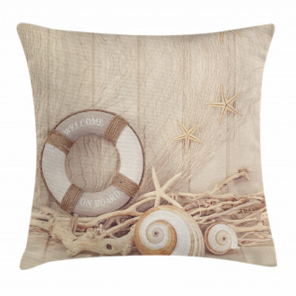 Life Buoy Wooden Sepia Pillow Cover