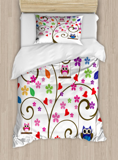 Tree Flowers Playful Birds Duvet Cover Set