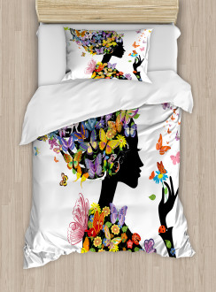 Flowers with Butterfly Duvet Cover Set