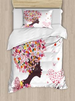 Butterflies Blossoms Duvet Cover Set