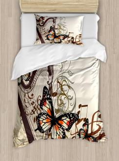 Harp Ornament Butterfly Duvet Cover Set