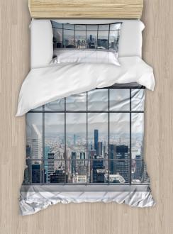 Big Window Downtown View Duvet Cover Set