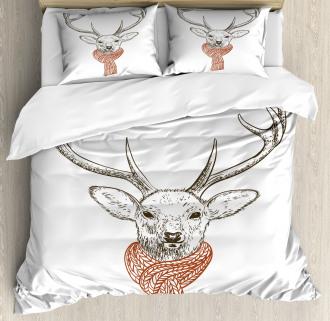 Deer with Scarf Winter Duvet Cover Set