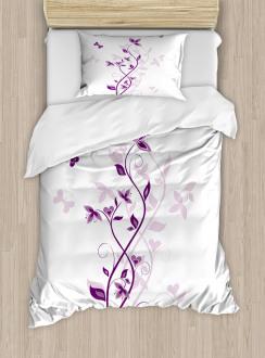 Violet Tree Blossoms Duvet Cover Set