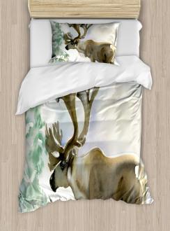 Winter Forest Paint Style Duvet Cover Set