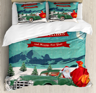 Santa in Classic Car Duvet Cover Set
