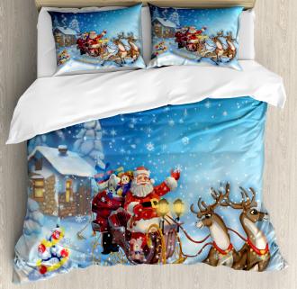 Santa in Sleigh Toys Duvet Cover Set