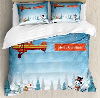 Santa Plane Snowman Duvet Cover Set