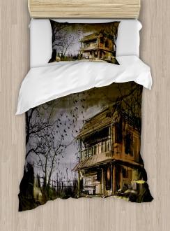 Wooden Haunted House Duvet Cover Set