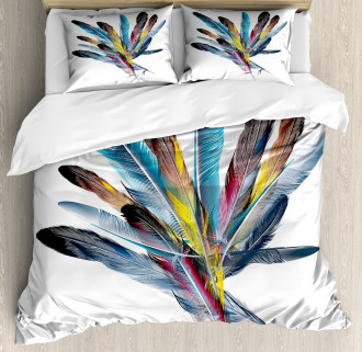 Colorful Feathers Old Pen Duvet Cover Set