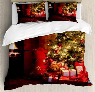 New Year Xmas Trees Duvet Cover Set
