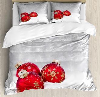 Baubles on Snowflake Duvet Cover Set