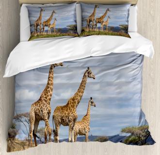African Giraffe Family Duvet Cover Set
