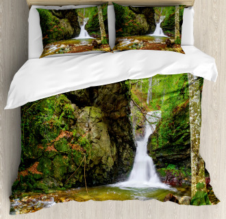Spring Waterfall Nature Duvet Cover Set