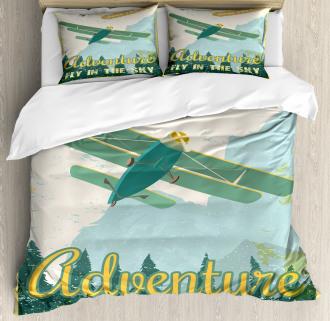 Adventure in Sky Plane Duvet Cover Set