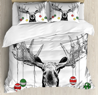 Sketchy Noel Ornament Duvet Cover Set