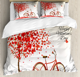 Heart Tree Bike Duvet Cover Set