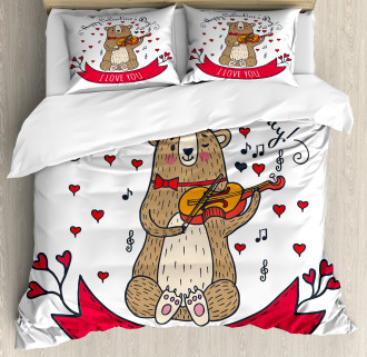 Bear and Violin Duvet Cover Set