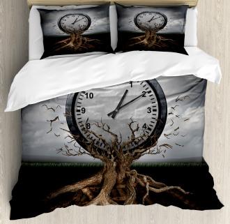Clock Surrealist Symbol Duvet Cover Set