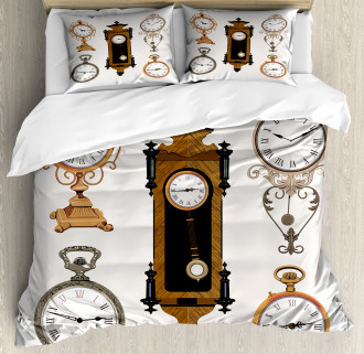 Antique Clocks Pattern Duvet Cover Set