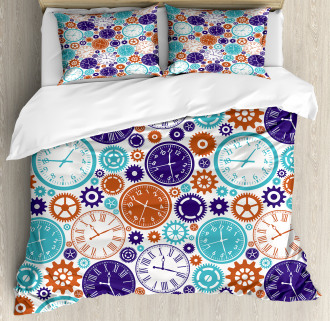 Clock with Roman Digits Duvet Cover Set