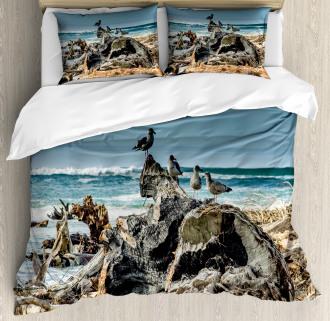Driftwood Shore Seagull Duvet Cover Set