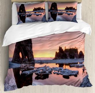 Sunset Sea Stacks Beach Duvet Cover Set