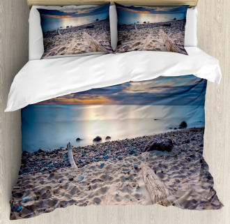 Rocky Sea Shore Trees Duvet Cover Set