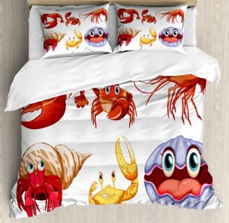 Crab Hermit Crab Lobster Duvet Cover Set