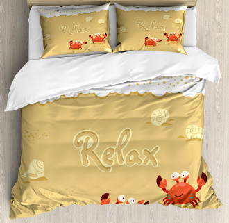 Card with Cute Crabs Sea Duvet Cover Set