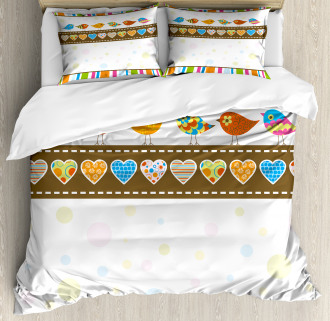 Birds Hearts Stripes Duvet Cover Set