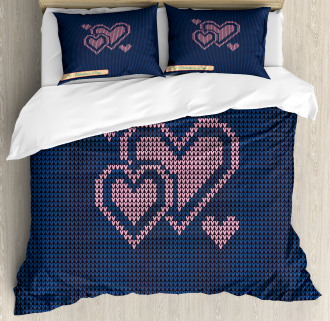 Digital Knit Hearts Duvet Cover Set