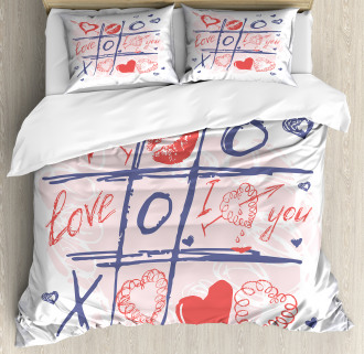 Xoxo Game with Lips Duvet Cover Set