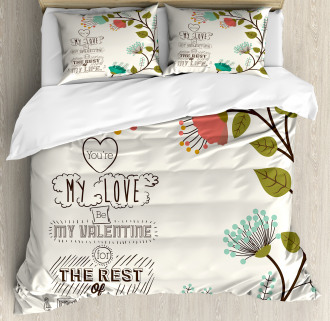 Flower with Leaf Duvet Cover Set