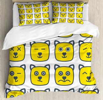 Cat Dog Smiley Expression Duvet Cover Set