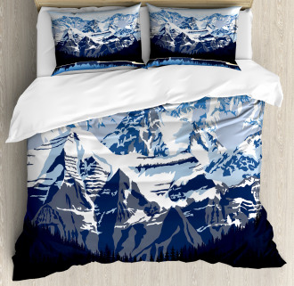 Mountain with Snow View Duvet Cover Set