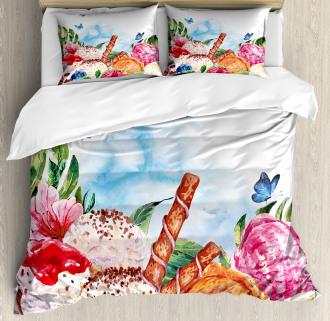 Dessert and Flower Art Duvet Cover Set