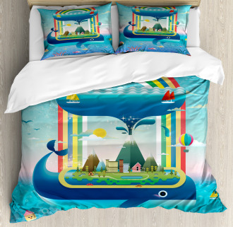Whale Rainbow Ocean Art Duvet Cover Set