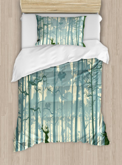 Animals in Foggy Forest Duvet Cover Set