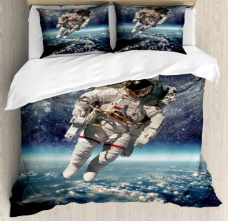 Astronaut Floats Outer Space Duvet Cover Set