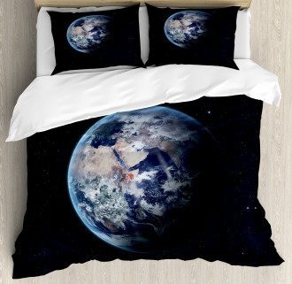 Planet Outer Space Scene Duvet Cover Set