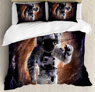 Astronaut in Outer Space Duvet Cover Set