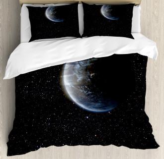 Moon Planet Earth Cosmos Duvet Cover Set