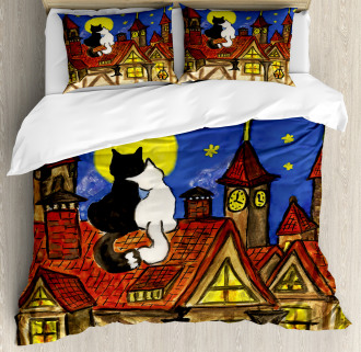 Two Lover Cats with Sky Duvet Cover Set