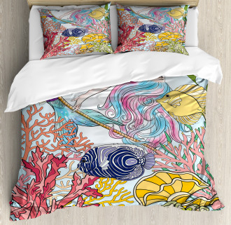 Sketchy Sea Coral Reefs Duvet Cover Set