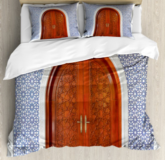 Antique Stars Wooden Door Duvet Cover Set