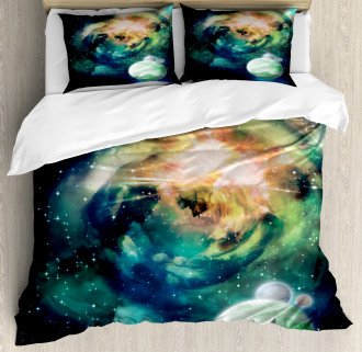 Spiral Galaxy and Planets Duvet Cover Set
