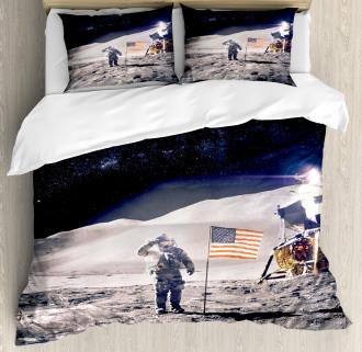 Astronaut on Moon Mission Duvet Cover Set