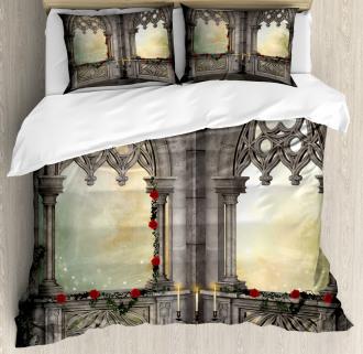 Oriental Rose and Flower Duvet Cover Set